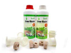 Combo 01 cặp dinh dưỡng Grow Master 2 lít, 20 rọ nhựa, 20 viên nén xơ dừa