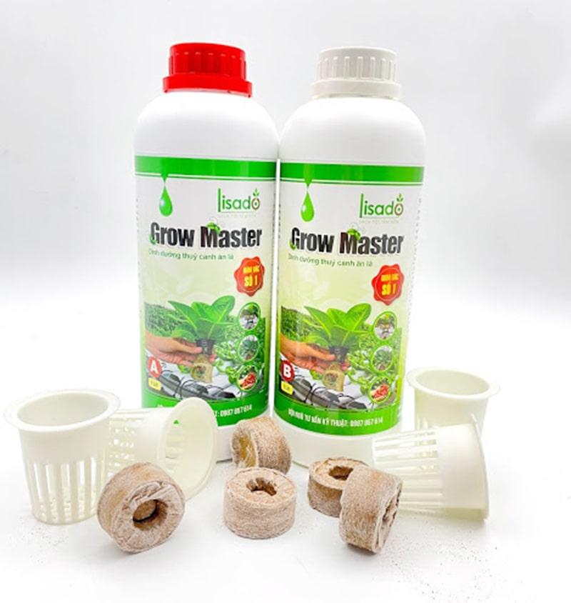 Combo 01 cặp dung dịch Grow Master 2 lít, 200 viên xơ dừa, 200 rọ nhựa thủy canh