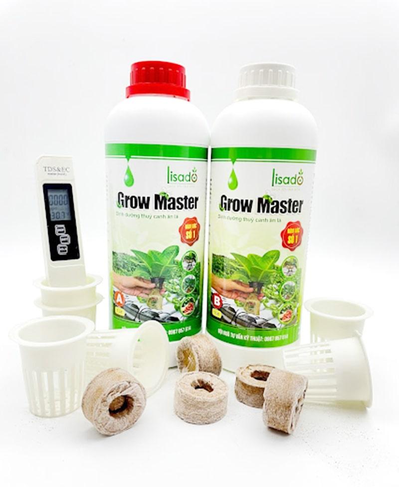 Combo 01 cặp dung dịch Grow Master 2 lít, 200 viên xơ dừa, 200 rọ nhựa và 1 bút đo PPM
