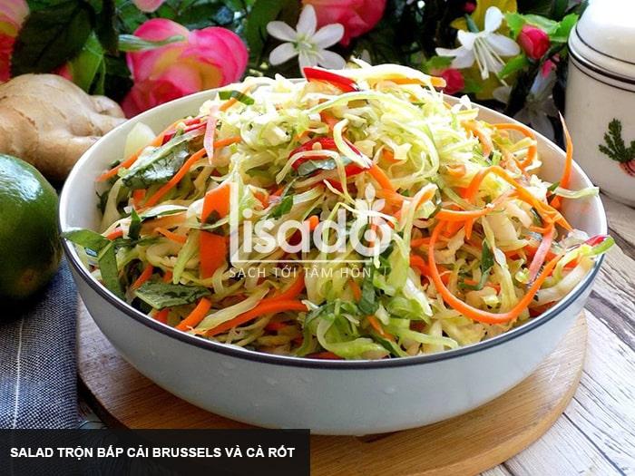 Salad trộn bắp cải Brussels và cà rốt