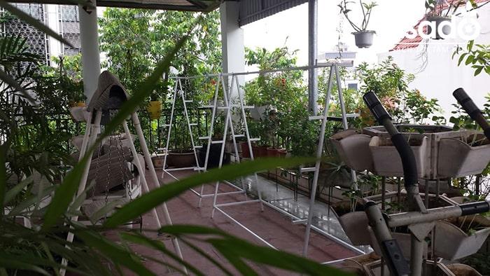 Gian trồng rau thủy canh chữ A nhà anh Tuyến
