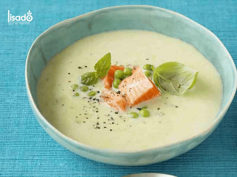 Cách nấu súp cá hồi măng tây cho trẻ ăn dặm