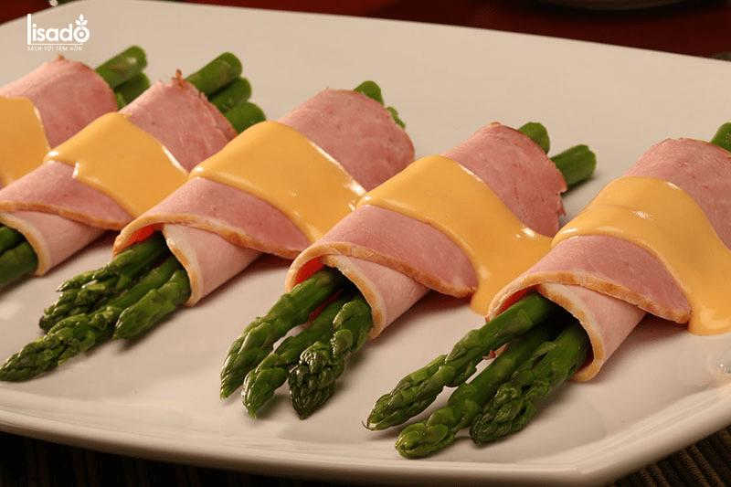 Dăm bông cuộn măng tây cho thực đơn giảm cân