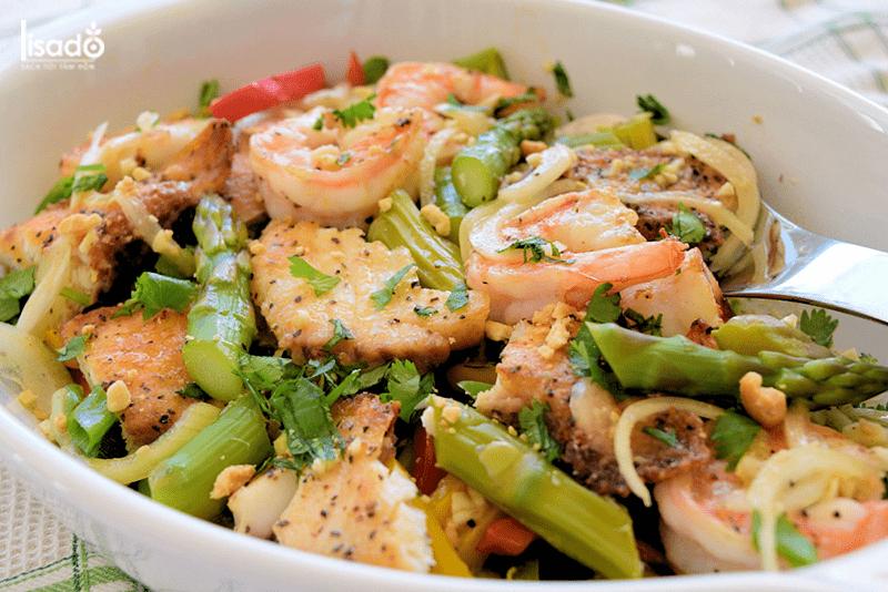 Cách làm món gỏi măng tây hải sản