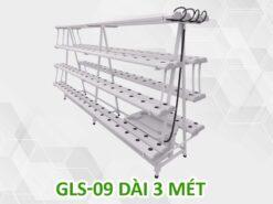 Giàn trồng rau thủy canh chữ A GLS-09 dài 3 mét 4 tầng 8 ống