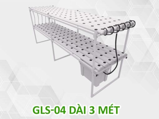Giàn trồng rau thủy canh 2 tầng GLS-04 dài 3 mét, 192 rọ trồng